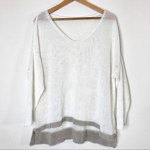Eileen Fisher💫Linen open knit plus size sweater